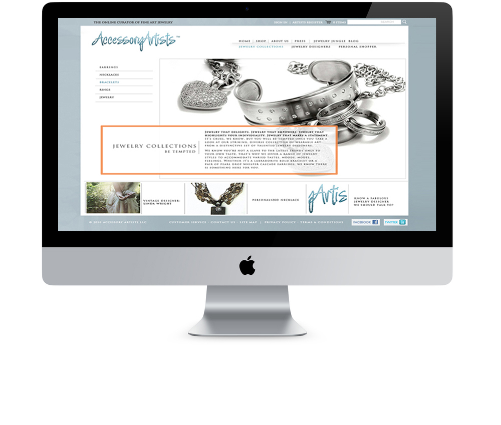 Papillon Communications - Accessory Artists: eCommerce Website